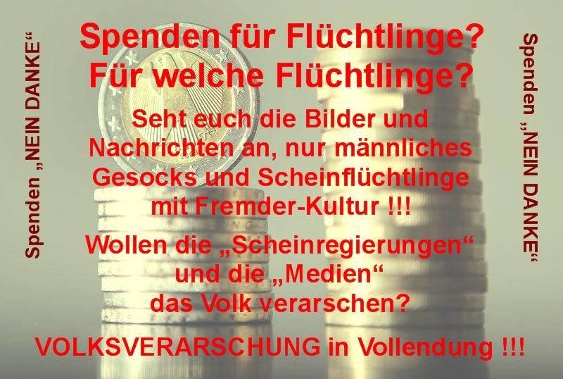 Spenden - fuer Fluechtlinge - Nein Danke